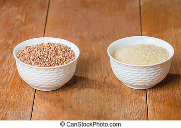 Buckwheat and rice in a white bowl