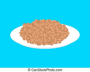 Buckwheat cereal in plate isolated. Healthy food for breakfast. Vector illustration