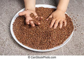buckwheat., cereals., 様々, 開発, 子供, 大丈夫です, プレーする, モーター, ゲーム, 子供, 技能