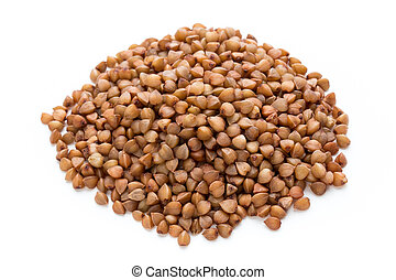 Buckwheat grains isolated on the white background.