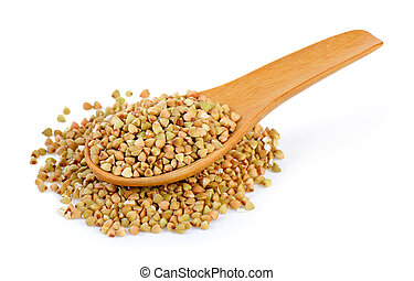 Buckwheat in spoon isolated on white background