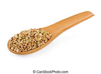 Buckwheat in wood spoon isolated on white background
