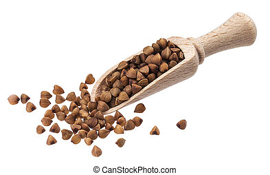 Buckwheat in wooden scoop isolated on white background