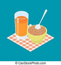 Buckwheat Porridge and fruit juice. Breakfast Healthy food. Vector illustration