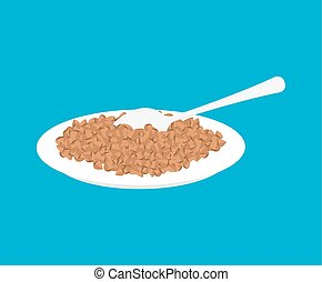 Buckwheat Porridge in plate and spoon isolated. Healthy food for breakfast. Vector illustration