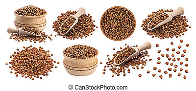 Buckwheat seeds isolated on white background, collection