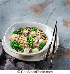 Buckwheat soba noodles soup for asian chinese japanese food