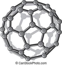 molecular structure of the C60 buckyball (nanostructure fullerene C60 sticks molecular model)