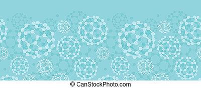 Buckyballs horizontal seamless pattern background border
