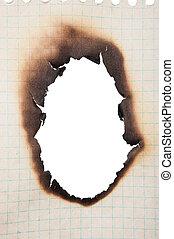 buco, carta, bruciato