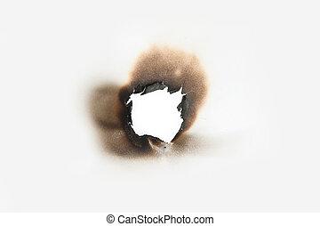 buco, carta, bruciatura
