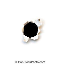 buco, carta, nero
