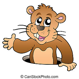buco, groundhog, cartone animato, appostando