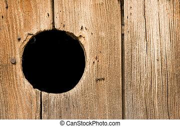 buco, in, legno, parete