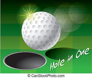 buco, palla, golf, bordo