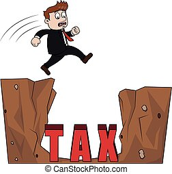 buco, saltare, tassa, uomo affari