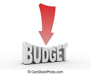 budżet, redukcja, pojęcie, ., 3d, odpłacił, ilustracja
