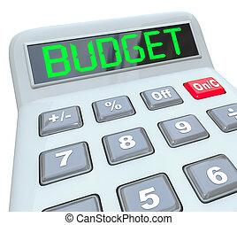 budżet, słowo, kalkulator, dom handlowy, finanse