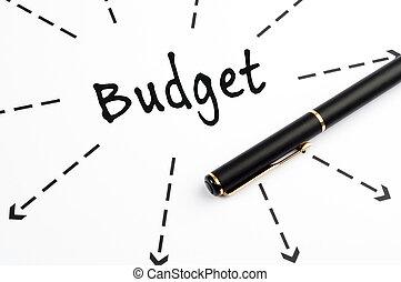 budżet, słowo, wih, strzały, i, pióro