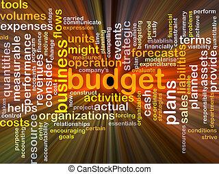 budżet, tło, pojęcie, jarzący się