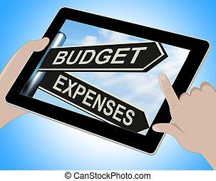 budżet, wydatki, tabliczka, środki, handlowy, uważając, i, waga