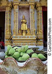 Bud green lotus with buddha statue