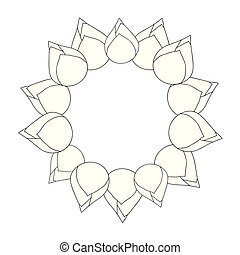 Bud Indian lotus Outline Wreath. (Nelumbo nucifera,sacred...