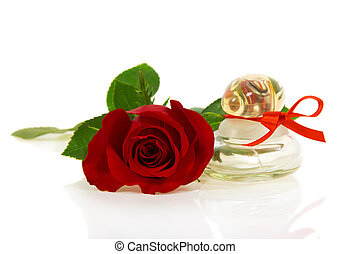 Bud of red rose and bottle with perfume - Bud of red rose...