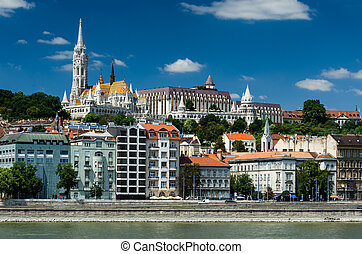 Buda and Matthias Church. Old city of Budapest, Hungary.