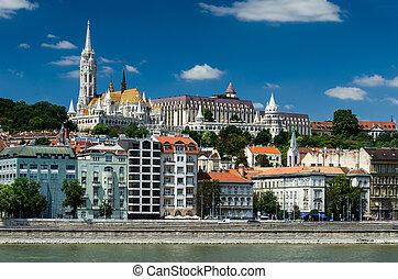 Buda and Matthias Church. Old city of Budapest, Hungary.