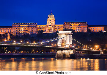 Buda Castle and Szechenyi Chain Bridge at night. Budapest, Hungary