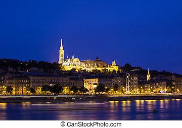 Buda Castle at night, Budapest, Hungary