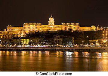 Buda Castle at night in Budapest