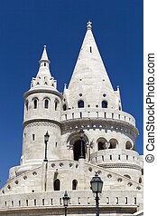 Buda Castle - detail of the Fisherman's Bastion in Budapest