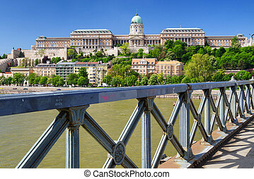 Buda castle from Chain bridge in Budapest, Hungary