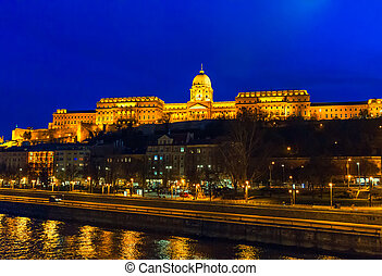 Buda Castle from Danube River at night blue hour