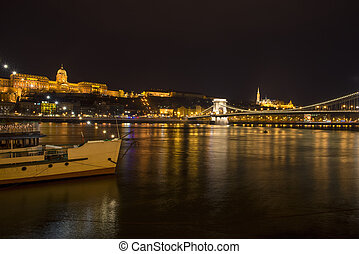 Buda Castle in Budapest - Buda Castle at night in Budapest...