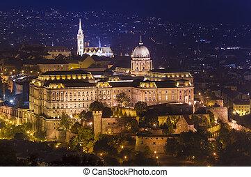 Buda castle in Budapest city, Hungary. night scene