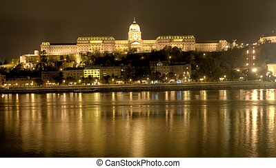 buda castle in budapest, hungary at night