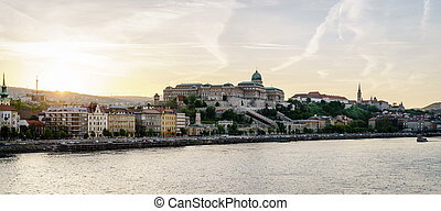 Buda Castle in Budapest - View of Buda side of Budapest and...