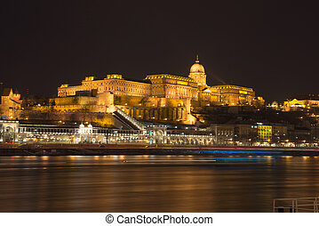 Buda Castle at night in Budapest in Hungary