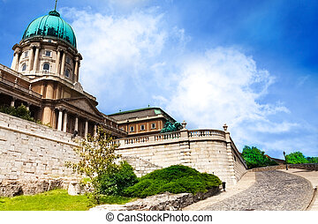 Buda castle close view in summer in Budapest, Hungary