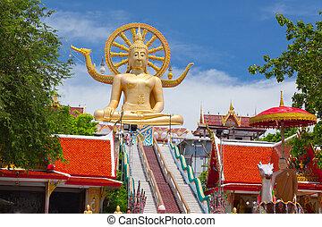 buda grande, estatua, en, koh samui, tailandia