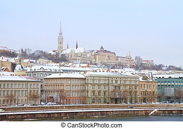 Buda hill at Budapest - View of Buda side of Budapest with...