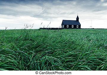 budakirkja, 教会, 木製である, 黒