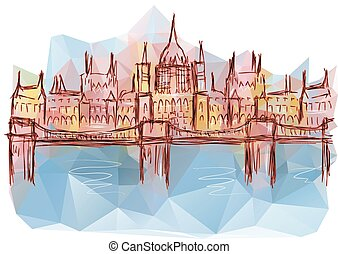 budapest. abstract building on multicolored background