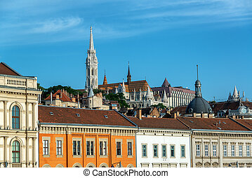 Budapest and St. Matthias Church - View of beautiful city of...