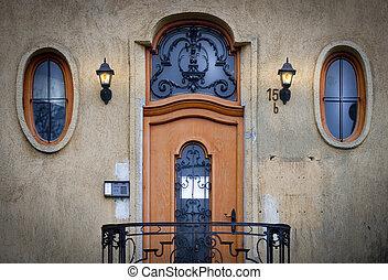 budapest, antigas, janelas, porta, europe., hungria