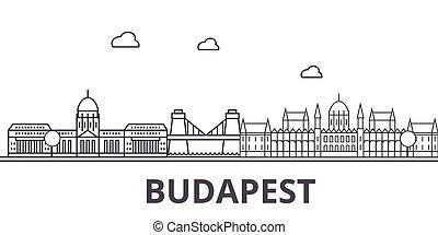 Budapest architecture line skyline illustration. Linear...