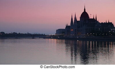 Budapest at Sunrise, Hungary - The Parliament Building in...